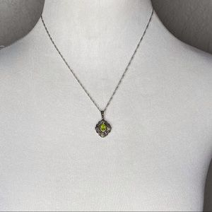 Vintage Sterling Peridot August Birthday Necklace
